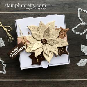 Brushed Metallic Card Stock Poinsettia Mini Pizza Box. Mary Fish, Stampin' Pretty Happy Christmas