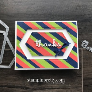 Create this card using Night of Navy, Granny Apple Green & Terracotta Tile Strips of Card Stock. Thanks Card by Mary Fish, Stampin' Pretty