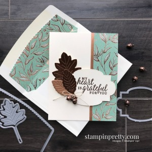 Create this card using the Beautiful Autumn Stamp Set and Stitched Leaves Dies. Grateful Card by Mary Fish, Stampin' Pretty