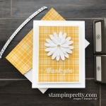 Create this simple thank you card using the Plaid Tidings Designer Series Paper and Daisy Punches from Stampin