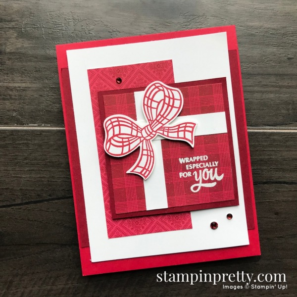 Wrapped for You Holiday Card using the Gift Wrapped Bundle from Stampin' Up! Mary Fish, Stampin' Pretty