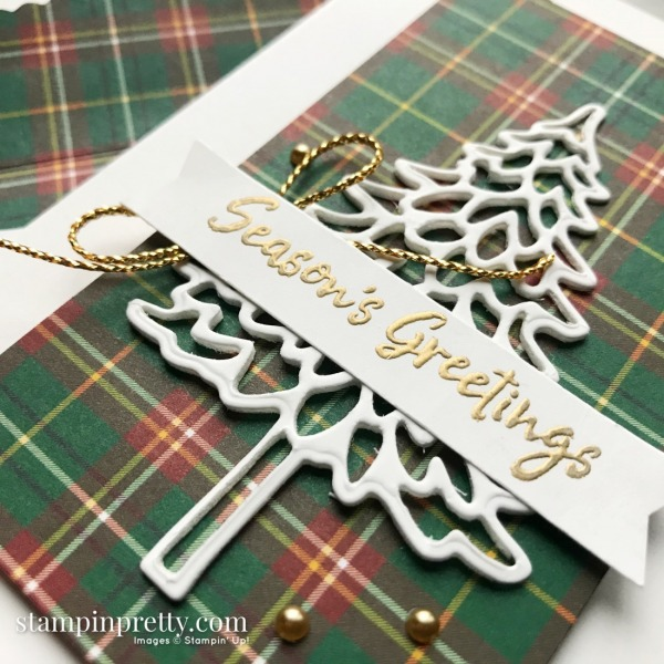 Create these Note Cards using the Plaid Tidings DSP and In the Pines Bundle from Stampin' Up! Created by Mary Fish, Stampin' Pretty (1)