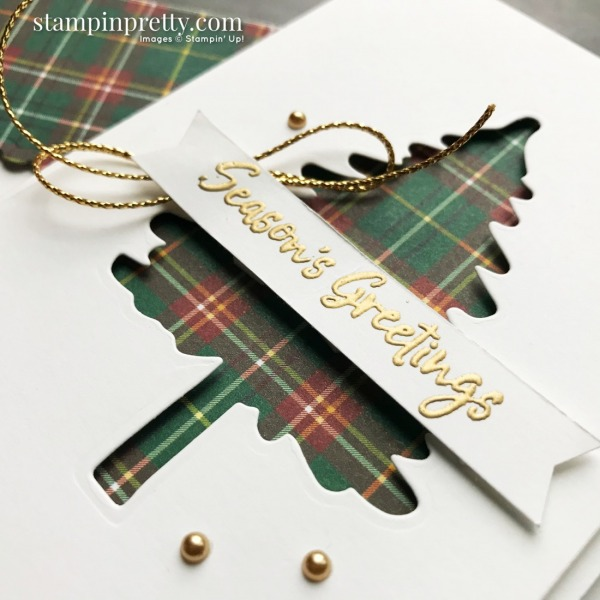 Create these Note Cards using the Plaid Tidings DSP and In the Pines Bundle from Stampin' Up! Created by Mary Fish, Stampin' Pretty