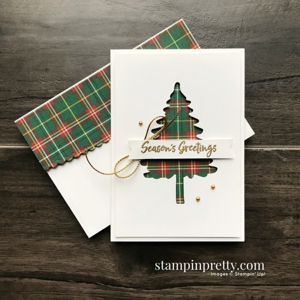 Create these Note Cards using the Plaid Tidings DSP and In the Pines Bundle from Stampin' Up! Created by Mary Fish, Stampin' Pretty Negative Space