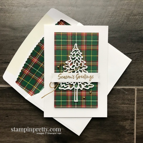 Create these Note Cards using the Plaid Tidings DSP and In the Pines Bundle from Stampin' Up! Created by Mary Fish, Stampin' Pretty Positive Space