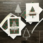 Create these Note Cards using the Plaid Tidings DSP and In the Pines Bundle from Stampin