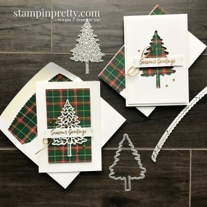 Create these Note Cards using the Plaid Tidings DSP and In the Pines Bundle from Stampin' Up! Created by Mary Fish, Stampin' Pretty_Crop