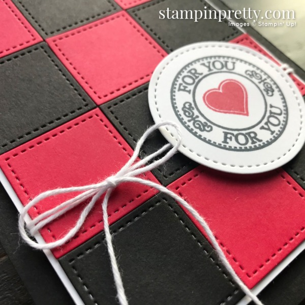 Create this buffalo check card using the Stitched Shapes Dies and Retiring Warm Hugs Stamp Set from Stampin' Up! Card by Mary Fish, Stampin' Pretty