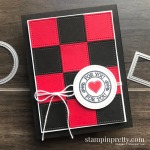 Create this buffalo check card using the Stitched Shapes Dies and Retiring Warm Hugs Stamp Set from Stampin
