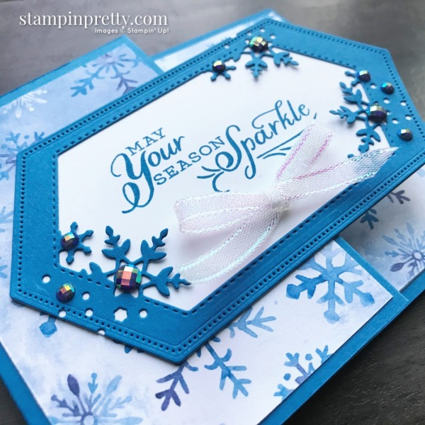 Create this fancy fold gift card holder using products from the Stampin' Up! Snowflake Splendor Suite. Mary Fish, Stampin' Pretty