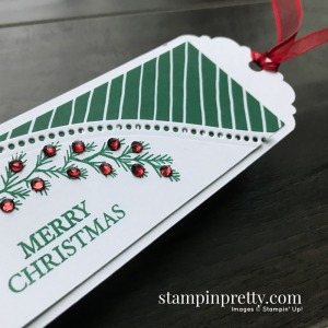 Curvy Christmas Stamp Set & Classic Christmas Designer Series Paper from Stampin' Up! Christmas Tag by Mary Fish, Stampin' Pretty
