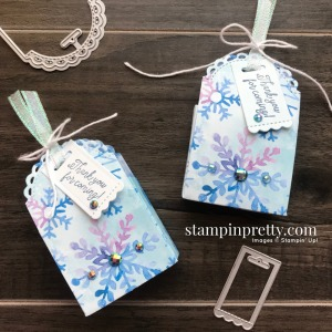Little Treat Bundle and Snowflake Splendor DSP and Ribbon form Stampin' Up! Holiday favors by Mary Fish, Stampin' Pretty