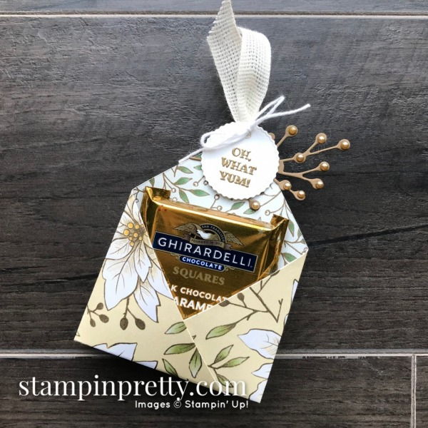 Oh, What Yum! Ghirardelli Double Treat Holders for Christmas - Stampin'Up! Poinsettia Place Mary Fish, Stampin' Pretty