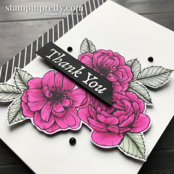 SNEAK PEEK! Create this card using the True Love Designer Series Paper and Matte Black Dots by Stampin' Up! Thank You Card by Mary Fish, Stampin' Pretty