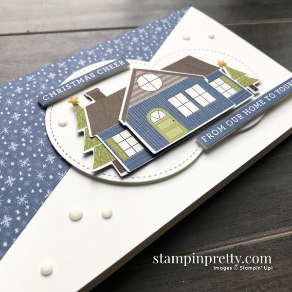 Trimming the Town Suite from Stampin' Up! Slimline Christmas Card and Envelope by Mary Fish, Stampin' Pretty