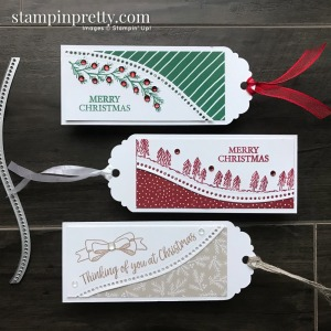 Trio of Christmas Tags using the Curvy Celebrations Products from Stampin' Up! Tags by Mary Fish, Stampin' Pretty