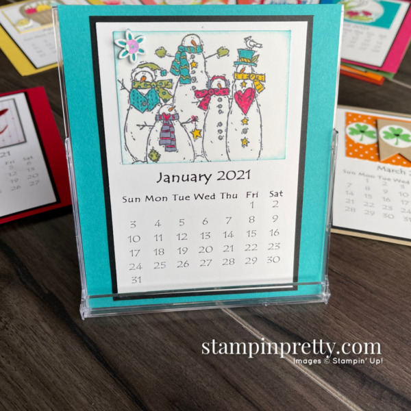Linda White's 2021 Easel Calendar Shared by Mary Fish, Stampin' Pretty