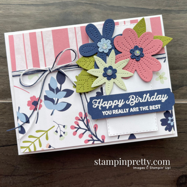 Stampin' Up! In Bloom Bundle & Paper Blooms DSP. Birthday Card by Mary Fish, Stampin' Pretty