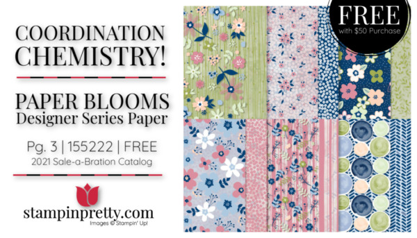 Stampin' Up! Paper Blooms DSP Mary Fish Stampin' Pretty Free with $50 Purchase During SAB