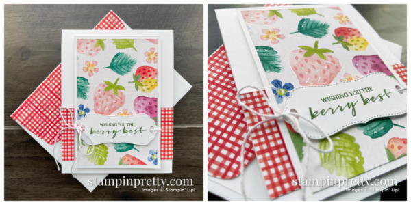 Create this card using the FREE Sale-a-Bration Berry Blessings Stamp Set & Berry Delightful Designer Series Paper from Stampin' Up! Mary Fish, Stampin' Pretty
