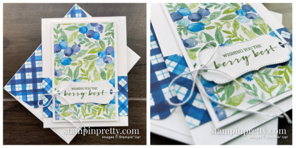 Create this card using the FREE Sale-a-Bration Berry Blessings Stamp Set & Berry Delightful Designer Series Paper from Stampin' Up! Mary Fish, Stampin' Pretty Blueberry