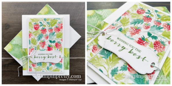 Create this card using the FREE Sale-a-Bration Berry Blessings Stamp Set & Berry Delightful Designer Series Paper from Stampin' Up! Mary Fish, Stampin' Pretty Leaves