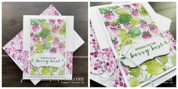 Create this card using the FREE Sale-a-Bration Berry Blessings Stamp Set & Berry Delightful Designer Series Paper from Stampin' Up! Mary Fish, Stampin' Pretty Raspberry