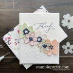 Create this card using the Pierced Bloom Dies and Coordinating Paper Blooms DSP from Stampin