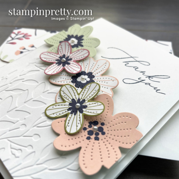 Create this card using the Pierced Bloom Dies and Coordinating Paper Blooms DSP from Stampin' Up! Card by Mary Fish, Stampin' Pretty