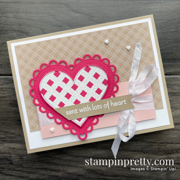 Create this love card using the Lots of Heart Bundle from Stampin' Up! Mary Fish, Stampin' Pretty (1)