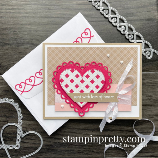 Create this love card using the Lots of Heart Bundle from Stampin' Up! Mary Fish, Stampin' Pretty