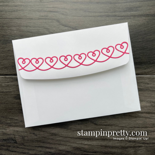 Decorate this envelope Many Hearts Dies from the Lots of Heart Bundle from Stampin' Up! Mary Fish, Stampin' Pretty