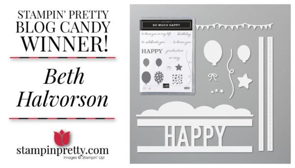 Stampin' Pretty Blog Candy Giveaway - So Much Happy Stamp Set & Die Bundle Winner
