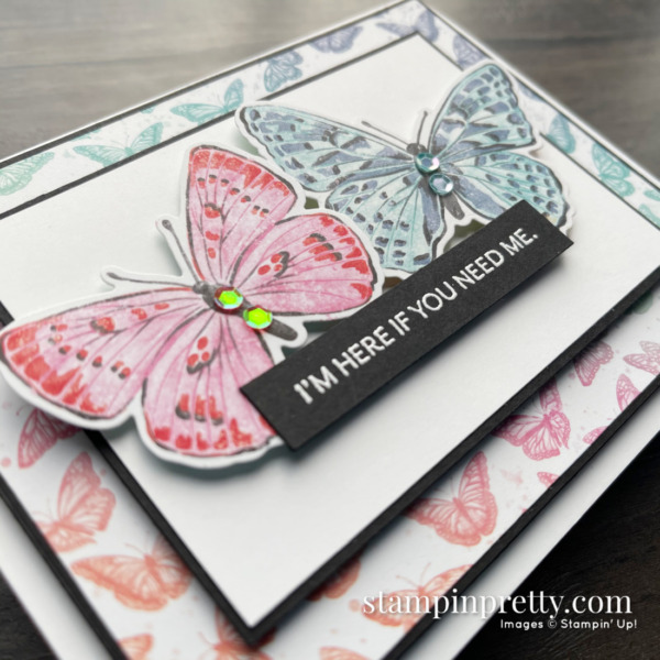 Butterfly Brilliance Collection from Stampin' Up! Card with DSP 2 by Mary Fish, Stampin' Pretty