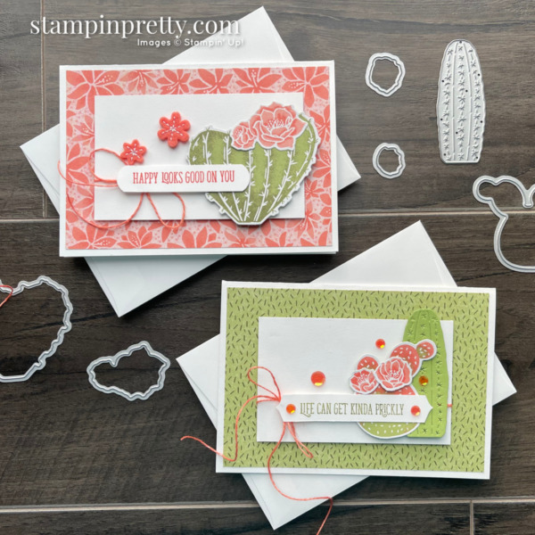 Create these cards using the Flowering Cactus Product Medley from Stampin' Up! Created by Mary Fish Stampin' Pretty