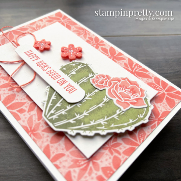 Create this Happy notecard using the Flowering Cactus Product Medley from Stampin' Up! Created by Mary Fish Stampin' Pretty 2