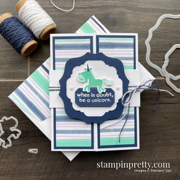 Create this gatefold card using the Hippo Happiness Bundle from Stampin' Up! Card by Mary Fish, Stampin' Pretty