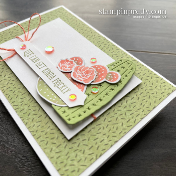 Create this notecard using the Flowering Cactus Product Medley from Stampin' Up! Created by Mary Fish Stampin' Pretty 2