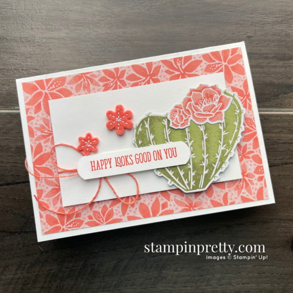 Create this notecard using the Flowering Cactus Product Medley from Stampin' Up! Created by Mary Fish Stampin' Pretty