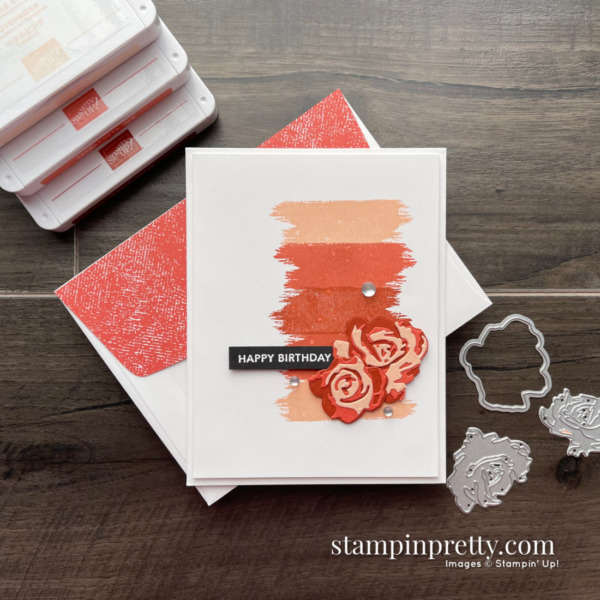 Happy Birthday with Brushed Blooms Bundle by Stampin' Up! Card by Mary Fish, Stampin' Pretty