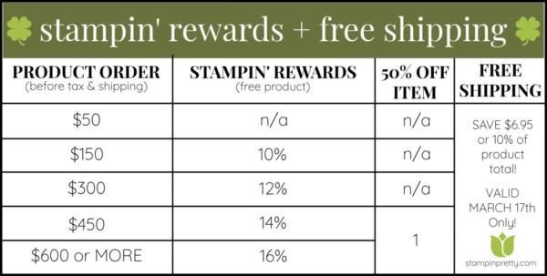 Stampin' Rewards Chart + FREE SHIPPING 03-17