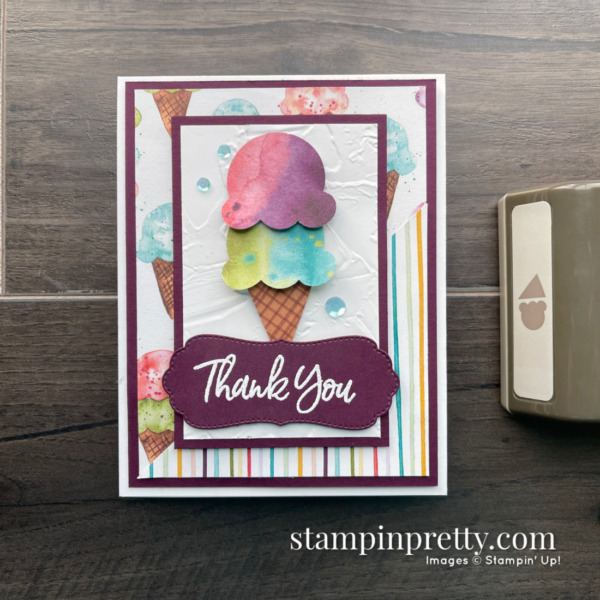 Sweet Ice Cream Bundle by Stampin' Up! Thank You Card by Mary Fish, Stampin' Pretty