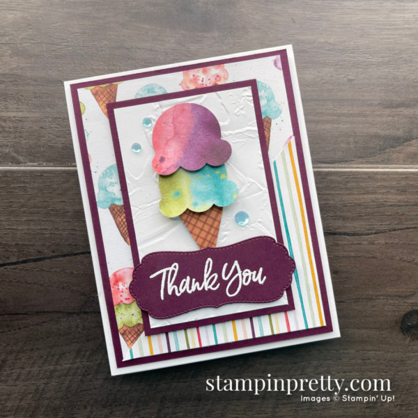 Sweet Ice Cream Bundle by Stampin' Up! Thank You Card by Mary Fish, Stampin' Pretty Slant