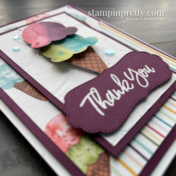 Sweet Ice Cream Bundle by Stampin' Up! Thank You Card by Mary Fish, Stampin' Pretty Slant Close