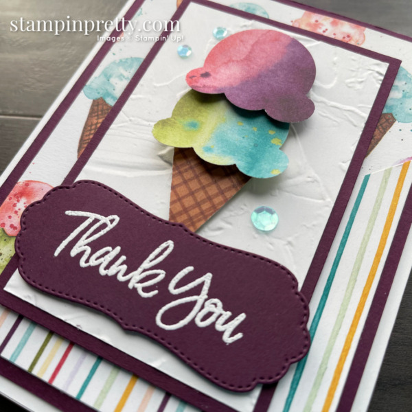 Sweet Ice Cream Bundle by Stampin' Up! Thank You Card by Mary Fish, Stampin' Pretty slant 2
