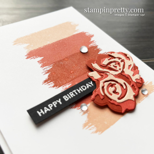 Use the Brushed Blooms Bundle from Stampin' Up! to create this Happy Birthday card by Mary Fish, Stampin' Pretty