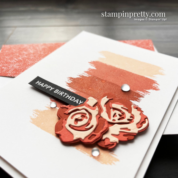 Use the Brushed Blooms Bundle from Stampin' Up! to create this Happy Birthday card by Mary Fish, Stampin' Pretty Side View
