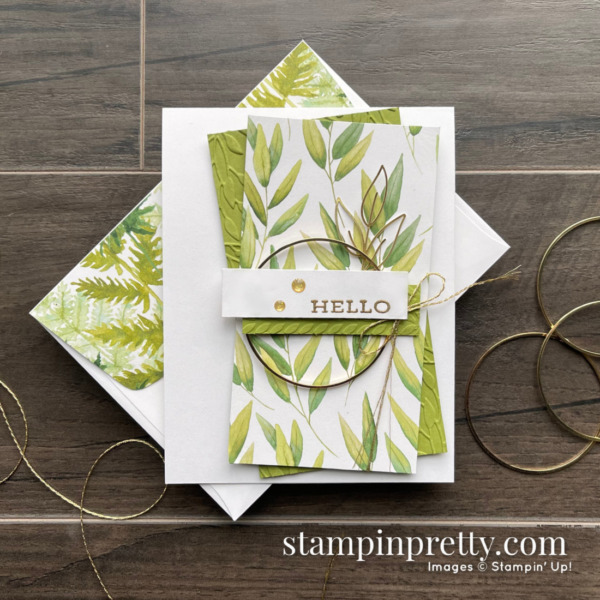 Forever Fern Hello Card for Sketch 23. Card by Mary Fish, Stampin' Pretty