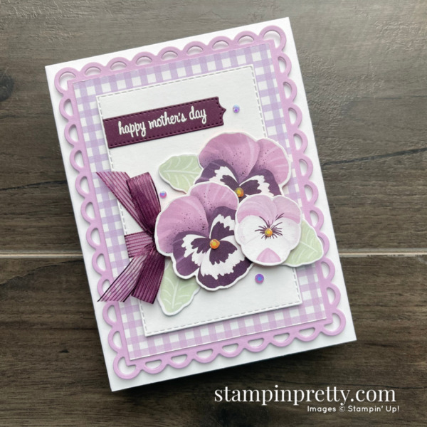 Pansy Petals 12x12 Designer Series Paper by Stampin' Up! SNEAK PEEK Card by Mary Fish, Stampin' Pretty
