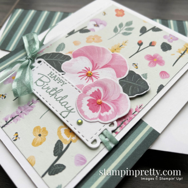 Pansy Petals DSP SNEAK PEEK! Stampin' Up! available May 4, 2021 Card by Mary Fish, Stampin' Pretty